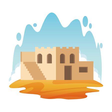 oriental antique aged desert building cartoon vector illustration graphic design Фото со стока - 129167155