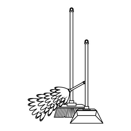 Cleaning equipment and products cobweb brush and dustpan with broom vector illustration graphic design. Stock Illustratie