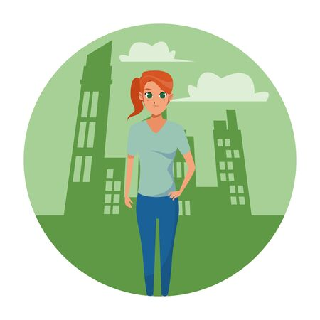 Young woman smiling with sport wear cartoon in the city scenery round icon vector illustration graphic design