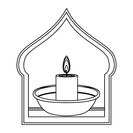 light candle on a bowl with lantern in a asiatic shape frame icon cartoon isolated in black and white vector illustration graphic design Standard-Bild - 129174048