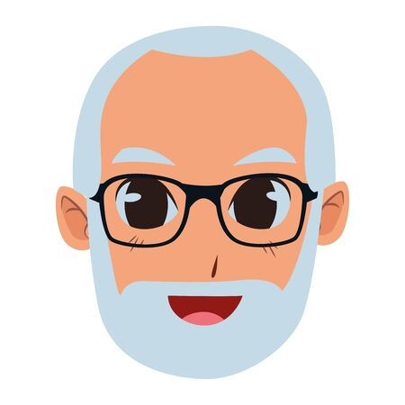 old man smiling and happy portrait isolated vector illustration graphic design Foto de archivo - 129174042