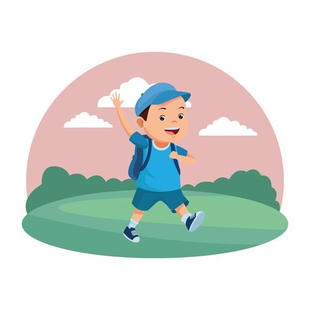 School boy smiling with backpack in nature scenery background ,vector illustration graphic design.