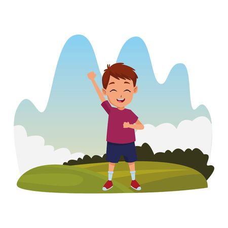 child having fun and playing at nature outdoors splash scenery vector illustration graphic design