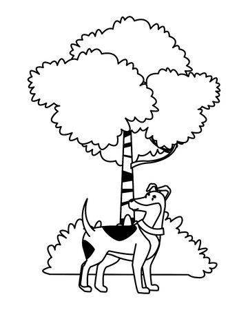 domestic animals and pet dog, tree and bush icon cartoon in black and white vector illustration graphic design