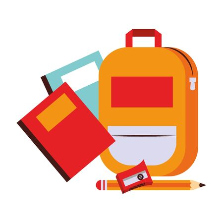 Back to school education books and backpack with sharpener with pencil cartoons vector illustration graphic design