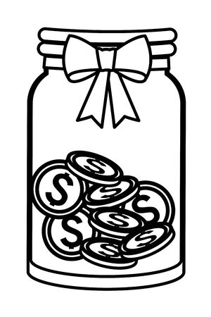 glass jar with coins inside and a ribbon with bun icon cartoon black and white vector illustration graphic design