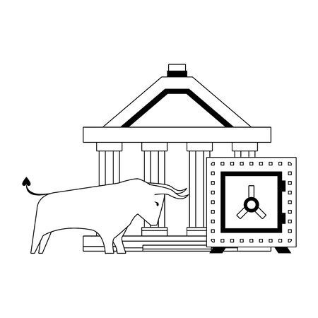Bank building and bull stock market with strongbox in black and white vector illustration