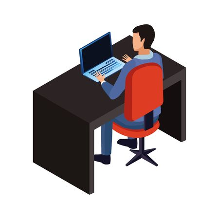 technology businessman in office with laptop symbol vector illustration graphic design