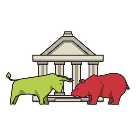 Bank building with bear and bull stock market symbols vector illustration