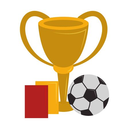 Soccer sport game referee cards with trophy cup and ball isolated vector illustration graphic design Ilustração