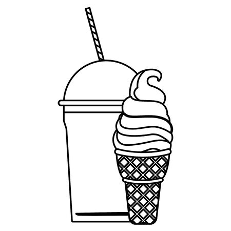 ice cream with wafer cookie cone and frozen ice shaved icon cartoon  in black and white vector illustration graphic design Illustration