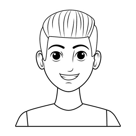 young man wearing a blue t-shirt avatar cartoon character in black and white vector illustration graphic design Foto de archivo - 129174108