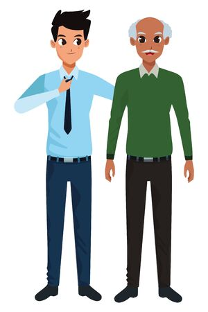 Family single father with adult son cartoon vector illustration graphic design 일러스트