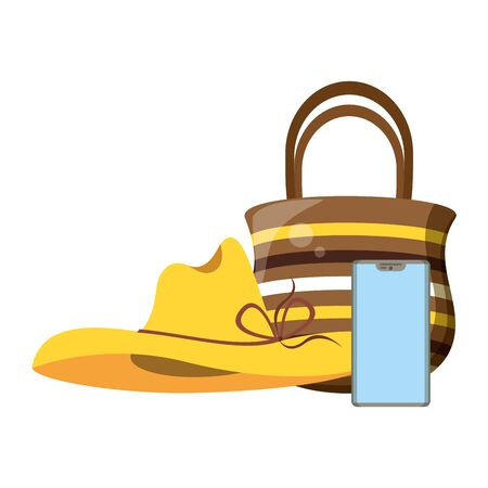 Summer hat and bag with smartphone cartoons vector illustration graphic design
