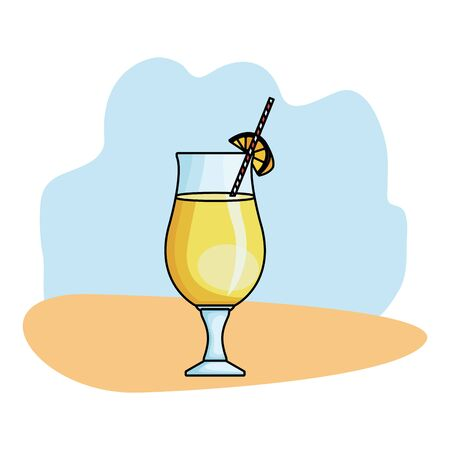 Delicious and natural orange juice with fruit on blue and orange grunge background vector illustration graphic design 向量圖像