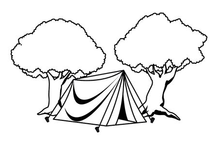 Camping tent with trees around ,vector illustration graphic design. Ilustração