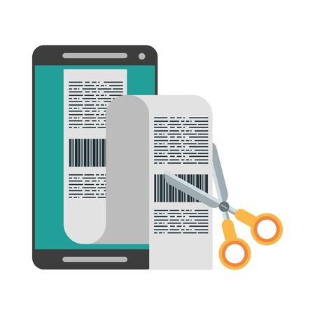 Smartphone and scissors cutting bills isolated vector illustration graphic design Иллюстрация