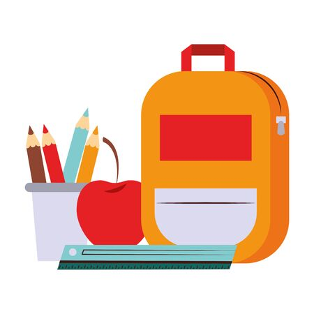 Back to school education backpack and apple with ruler and pencils in cups cartoons vector illustration graphic design Çizim