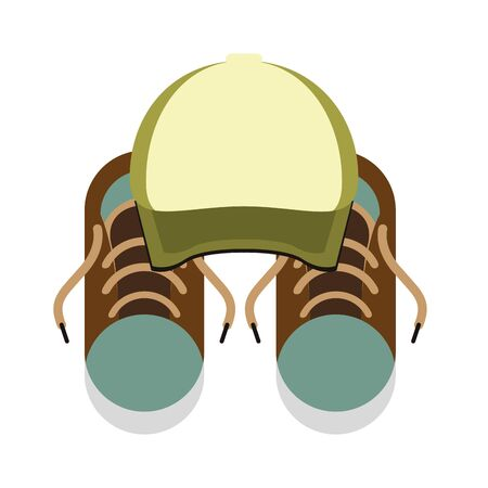 hipster accessories for the summer with cap and sneakers isolated Vector design illustration