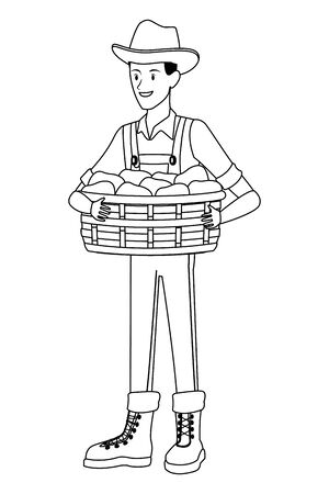 farm, animals and farmer man with overall, boot, hat and holding a wicker basket avatar cartoon character in black and white vector illustration graphic design