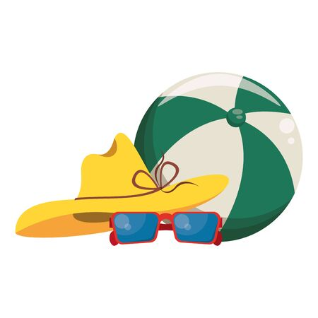 Summer hat and sunglasses with beach ball cartoons vector illustration graphic design