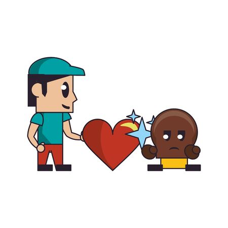 Videogames plumber with heart and enemy character cartoons vector illustration graphic design Çizim