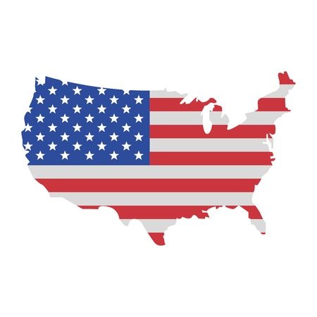 usa american independence 4th july patriotic happy celebration united states map isolated cartoon vector illustration graphic design Illustration