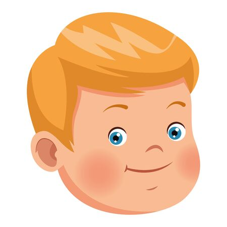 Cute little boy smiling face ,vector illustration .graphic design. Çizim