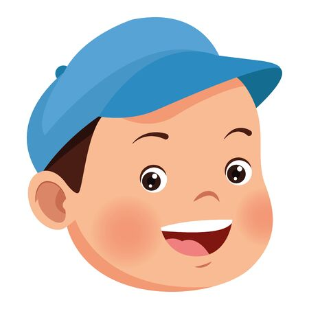 Cute little american boy smiling face ,vector illustration .graphic design. Çizim