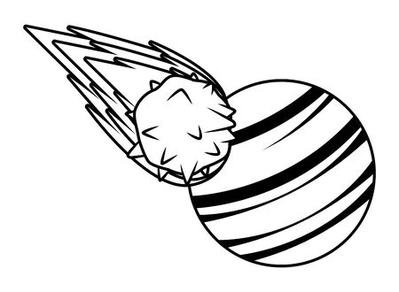 space exploration comet and planet in black and white icon cartoon vector illustration graphic design