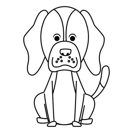 cute dog sitting icon cartoon portrait brown isolated black and white vector illustration graphic design Archivio Fotografico - 129187010