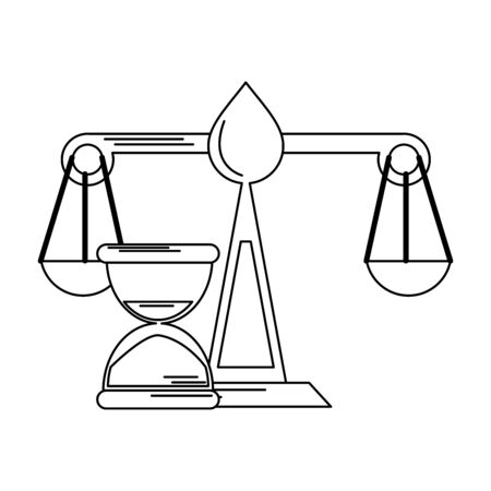 Justice balance and hourglass symbol vector illustration graphic design