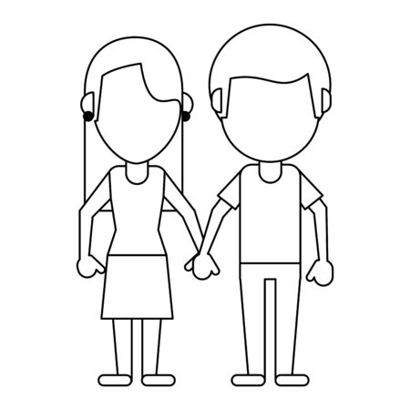 boyfriend and girlfriend clasped hands faceless avatar vector illustration graphic design