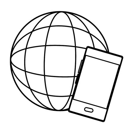 globe world sphere and smartphone icon cartoon in black and white vector illustration graphic design Illustration