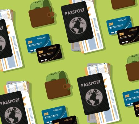 Travel and tourism elements passport and money pattern background vector illustration graphic design