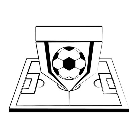 Soccer football sport game team emblem with ball on playfield vector illustration graphic design