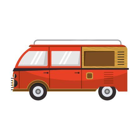 Vintage hippie van vehicle sideview vector illustration graphic design