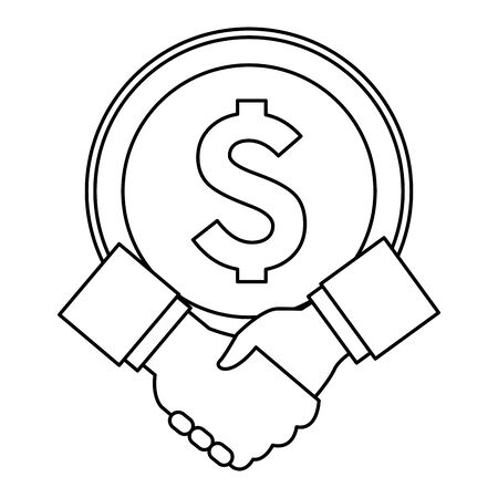 big coin and hand shaking with business sleeve icon cartoon in black and white vector illustration graphic design