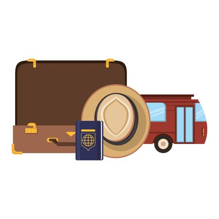 Travel vacations and summer suitcase open with hat and bus with passport cartoons Ilustracja