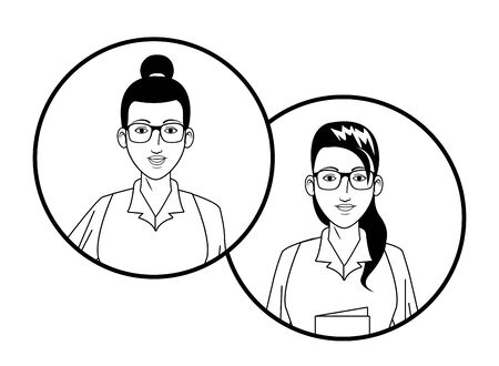 two businesswomen afroamerican wearing glasses with bun avatar cartoon character profile picture portrait in round icons black and white vector illustration graphic design Ilustracja