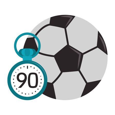 Soccer sport game ball and chronometer isolated vector illustration graphic design