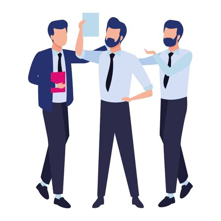 Businessmen coworkers with office clipboard documents colorful isolated faceless avatar vector illustration graphic design