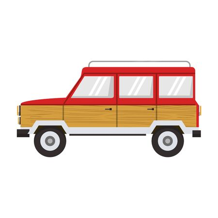 Vintage truck vehicle side view isolated vector illustration graphic design
