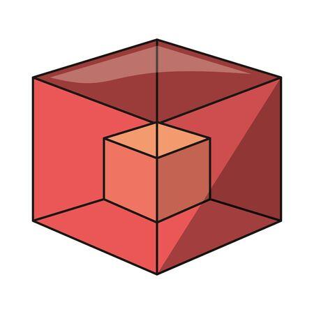 Three dimensional cubes symbol isolated illustration editable image Illustration