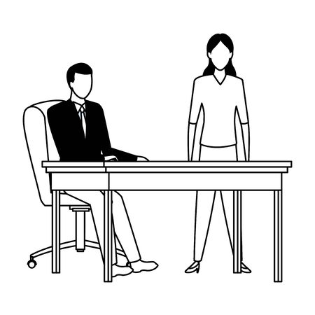business people businessman sitting on a desk avatar cartoon character in black and white
