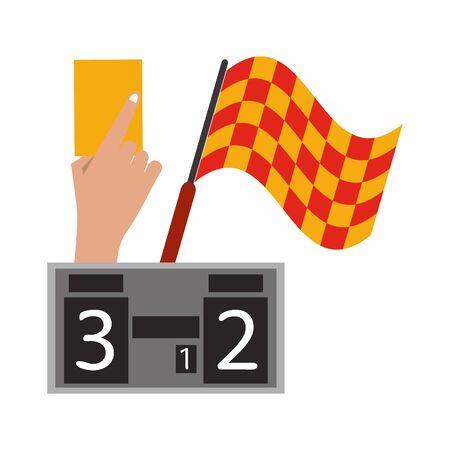 Soccer yellow referee card with flag and scoreboard sport cartoons vector illustration graphic design Ilustração