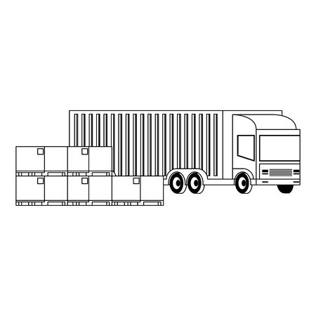 Delivery van with boxes and merchandise isolated vector illustration Illustration