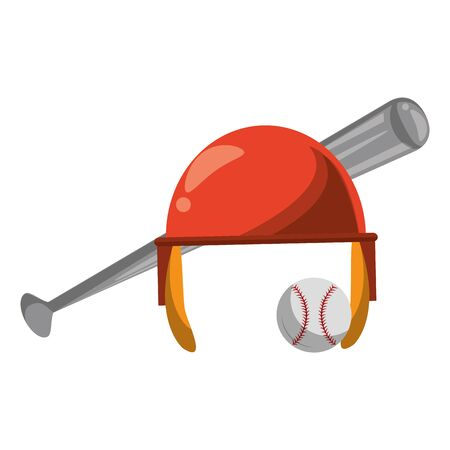 baseball equiment elements ball, aluminum bat and batter helmet icon cartoon vector illustration graphic design Banque d'images - 129213639
