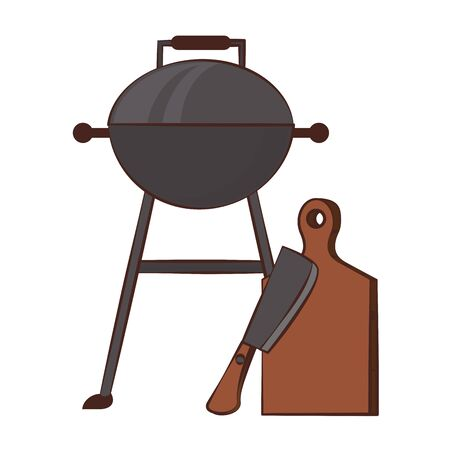 Kitchen barbecue utensils for grill table and knife vector illustration graphic design Illustration
