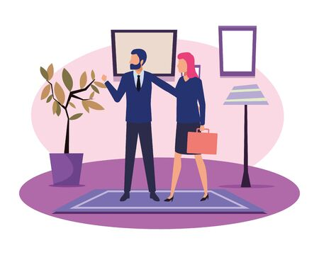 business people businessman wearing beard and using a wand and businesswoman carrying a briefcase avatar cartoon character indoor with carpet, floor lamp, plant pot and frames on the wall vector illustration graphic design Ilustracja